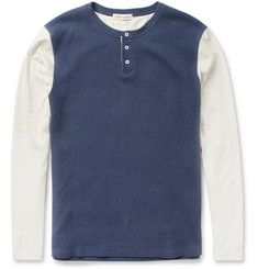 Oliver Spencer Contrast-Sleeve Cotton Henley T-Shirt