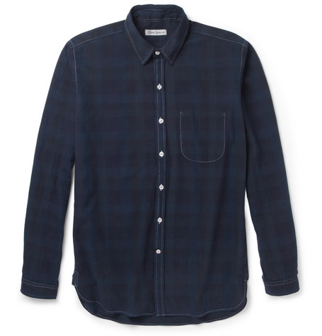 Oliver Spencer Check Herringbone Fine-Cotton Shirt