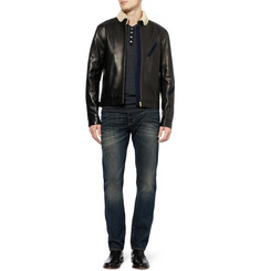 Oliver Spencer Shearling-Collar Leather Bomber Jacket
