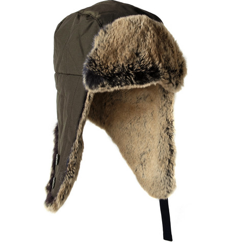 Woolrich Rabbit-Trimmed Cotton-Blend Trapper Hat
