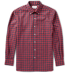 Ovadia & Sons Midwood Suede-Trimmed Gingham Cotton-Flannel Shirt