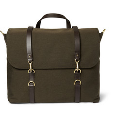 Mismo Leather-Trimmed Wool-Twill Satchel