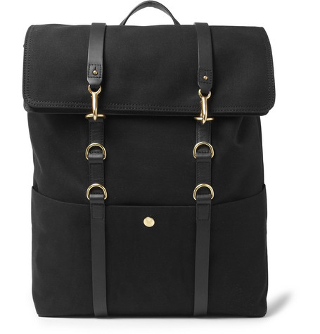 Mismo Leather-Trimmed Cotton-Canvas Backpack