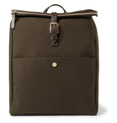 Mismo Leather-Trimmed Wool-Twill Backpack