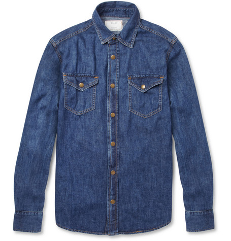Billy Reid Washed-Denim Shirt