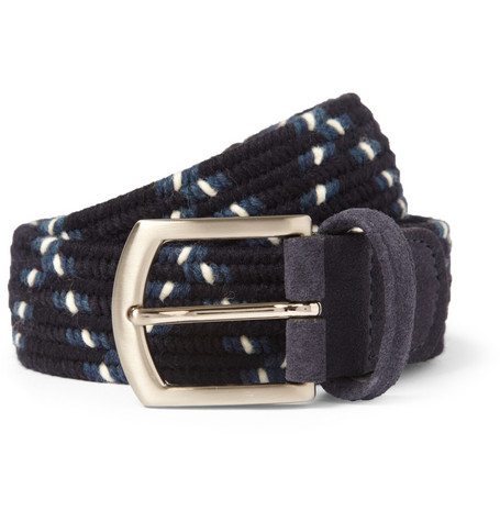 Anderson's Suede-Trimmed Woven Elasticated Belt