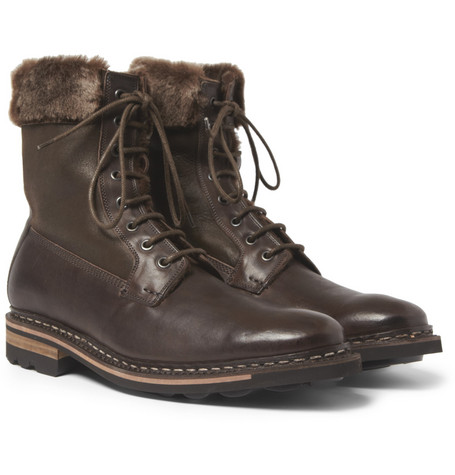 Heschung Zermatt Shearling-Lined Leather Boots