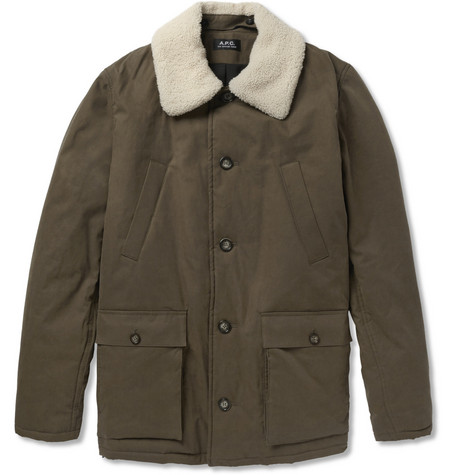 A.P.C. Shearling-Collar Padded Cotton-Blend Coat