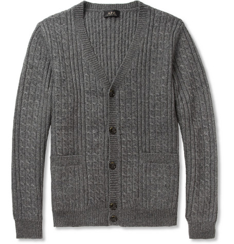 A.P.C. Cable Knit Wool-Blend Cardigan