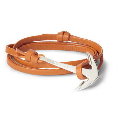 Miansai Leather And Metal Anchor Wrap Bracelet