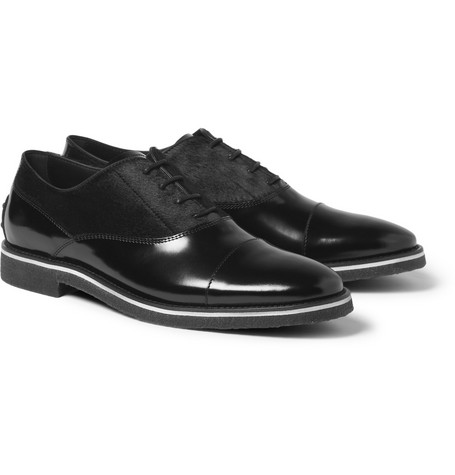Tod's No_Code Leather and Calf Hair Oxford Shoes
