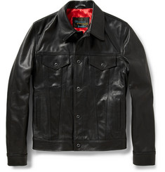 Schott Perfecto Slim-Fit Pebbled-Leather Trucker Jacket