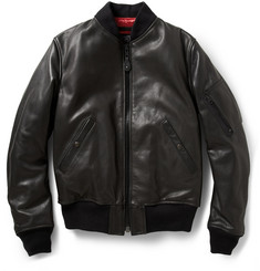 Schott MA-1 Pebbled-Leather Bomber Jacket