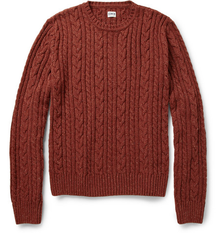 Edwin Oiler Flecked Cable-Knit Sweater