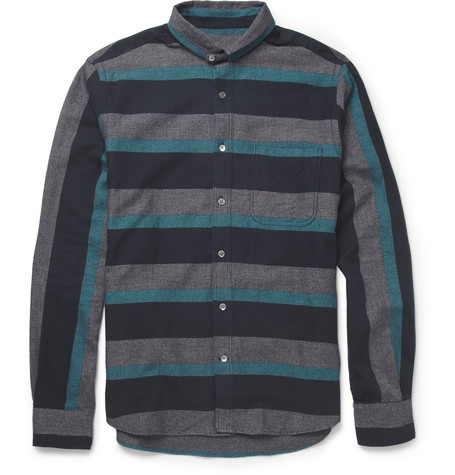 YMC Striped Cotton-Flannel Shirt