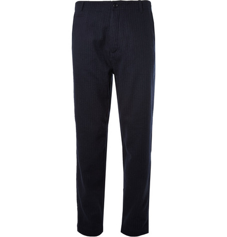 YMC Tapered Pinstripe Cotton and Wool-Blend Trousers