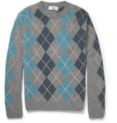 YMC Lennie Argyle Knitted-Wool Sweater