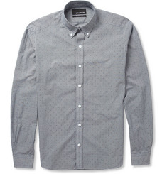 Bespoken Slim-Fit Dot-Print Gingham Check Cotton Shirt