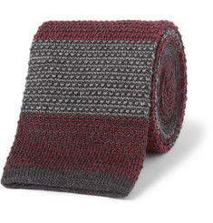 Bespoken Striped Knitted Wool Tie