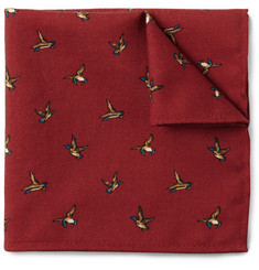 J.Crew Duck-Print Wool Pocket Square