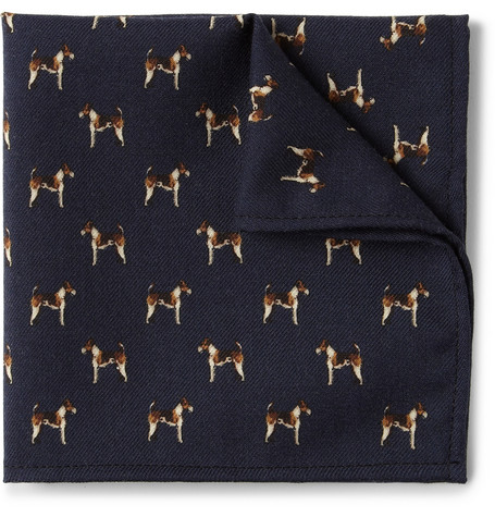 J.Crew Dog-Print Wool Pocket Square
