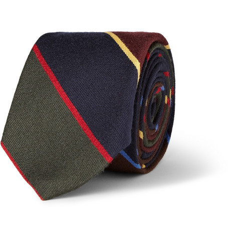 J.Crew Striped Wool and Silk-Blend Tie