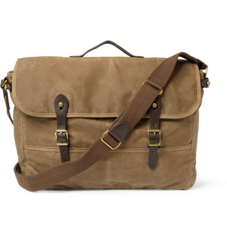J.Crew Abingdon Waxed Cotton-Canvas and Leather Messenger Bag