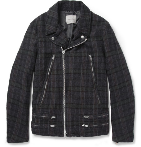 Undercover Plaid Wool Biker Jacket