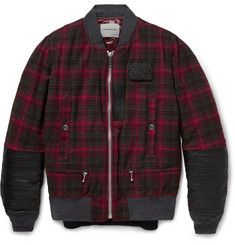 Undercover Leather-Trimmed Check Wool Bomber Jacket