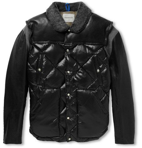 Undercover Shearling-Trimmed Leather and Quillted Shell Bomber Jacket