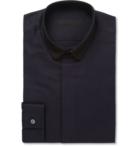 Spencer Hart Navy Contrast Collar Cotton-Pique Shirt