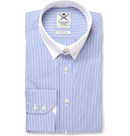 Hackett Blue Collar-Tab Striped Cotton Shirt