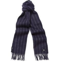 Hackett Pinstriped Merino Wool and Cashmere-Blend Scarf