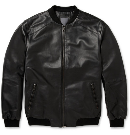Lot78 Washed-Leather Bomber Jacket