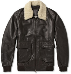 Lot78 Shearling-Collar Leather Bomber Jacket