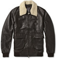 Lot78 - Shearling-Collar Leather Bomber Jacket