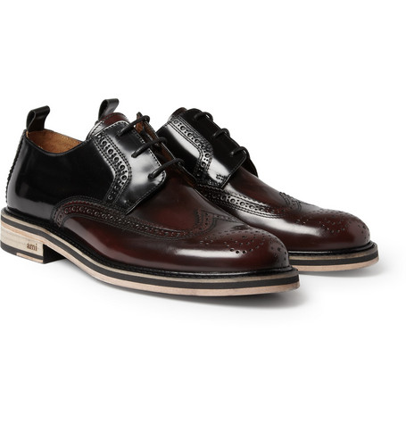 AMI Two-Tone High-Shine Leather Brogues