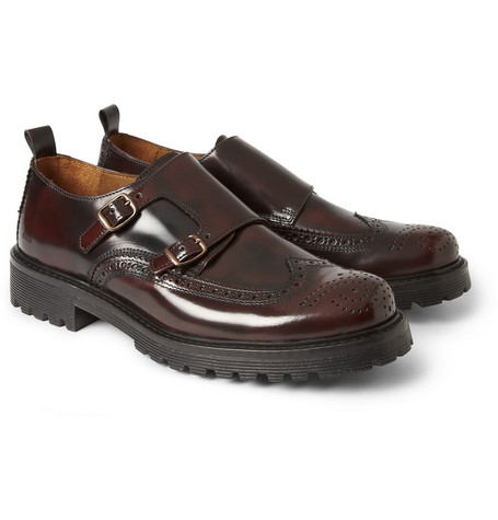 AMI Burnished Leather Monk-Strap Brogues