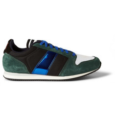 AMI Suede, Mesh and Metallic Leather Sneakers