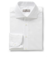 Canali White Slim-Fit Button-Cuff Cotton-Twill Shirt