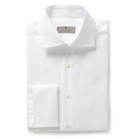Canali White Slim-Fit Double-Cuff Cotton-Twill Shirt
