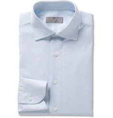 Canali Blue Slim-Fit Cotton-Twill Shirt