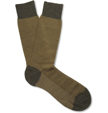 Pantherella Lombard Birdseye Knit Merino Wool-Blend Socks