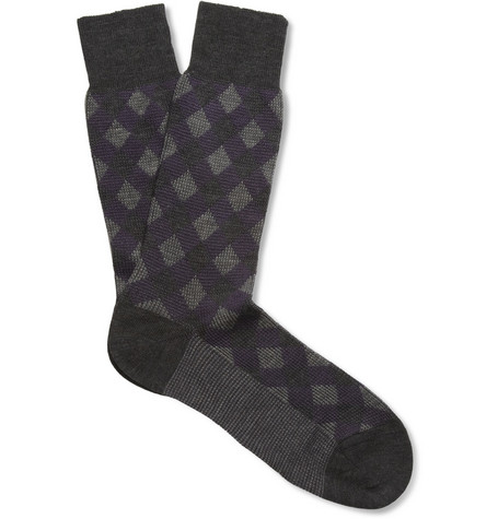 Pantherella Laurence Patterned Merino Wool-Blend Socks