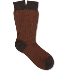 Pantherella Hoxton Herringbone Merino Wool-Blend Socks