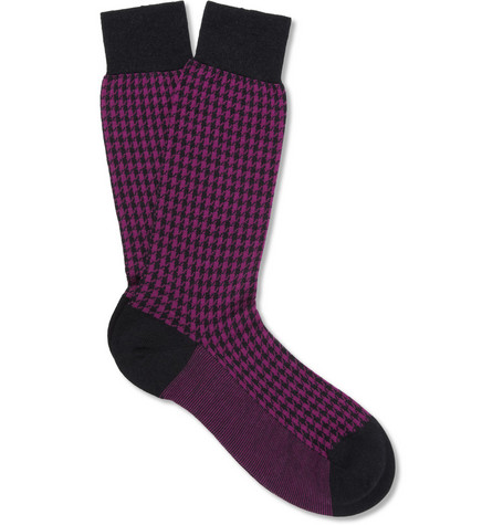 Pantherella Strand Houndstooth Merino Wool-Blend Socks