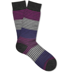 Pantherella Tate Striped Merino Wool-Blend Socks