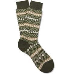 Pantherella Bamburgh Fair Isle Cashmere-Blend Socks