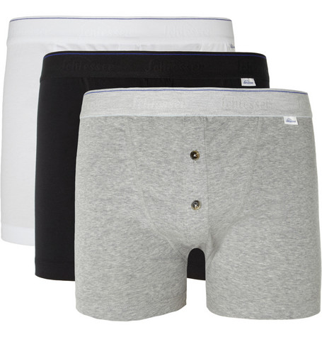 Schiesser Three-Pack Cotton-Blend Boxer Briefs