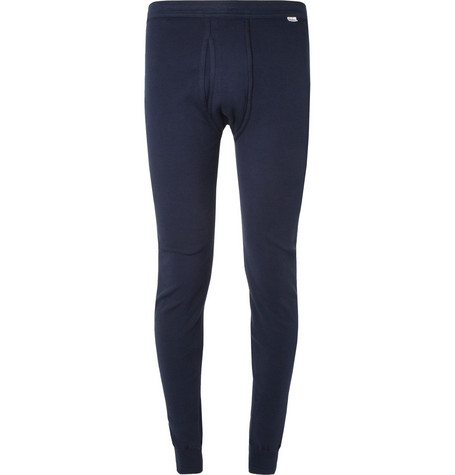 Schiesser Ribbed Cotton-Jersey Long Johns